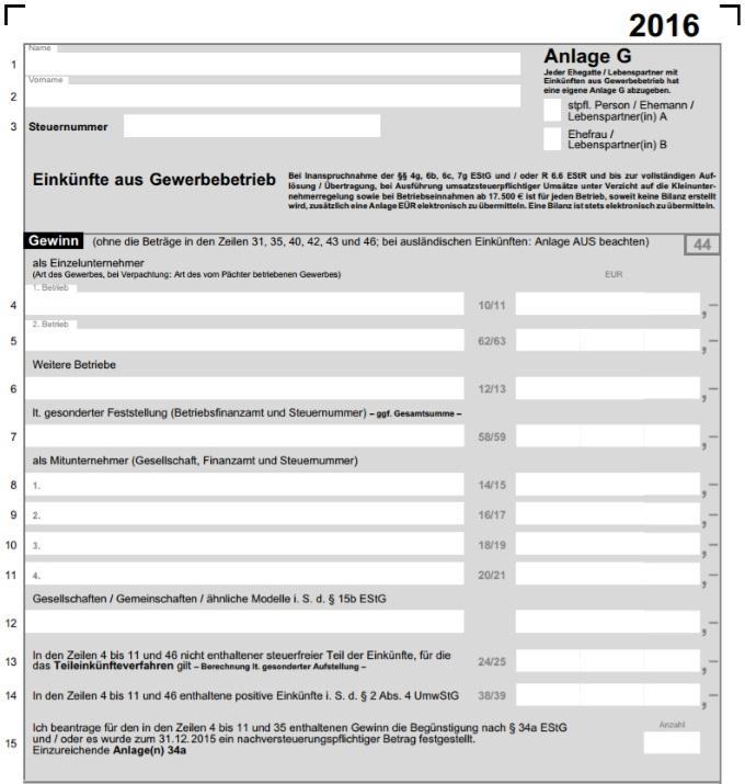 anlage g zur est erklrung gewerbetreibende - Steuererklarung Anlage V Beispiel