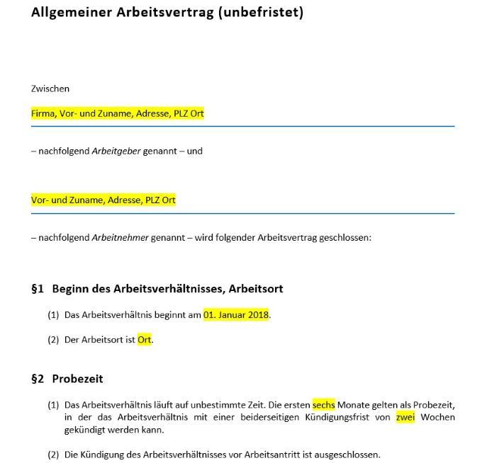 allgemeiner arbeitsvertrag unbefristet - Anderung Arbeitsvertrag Muster