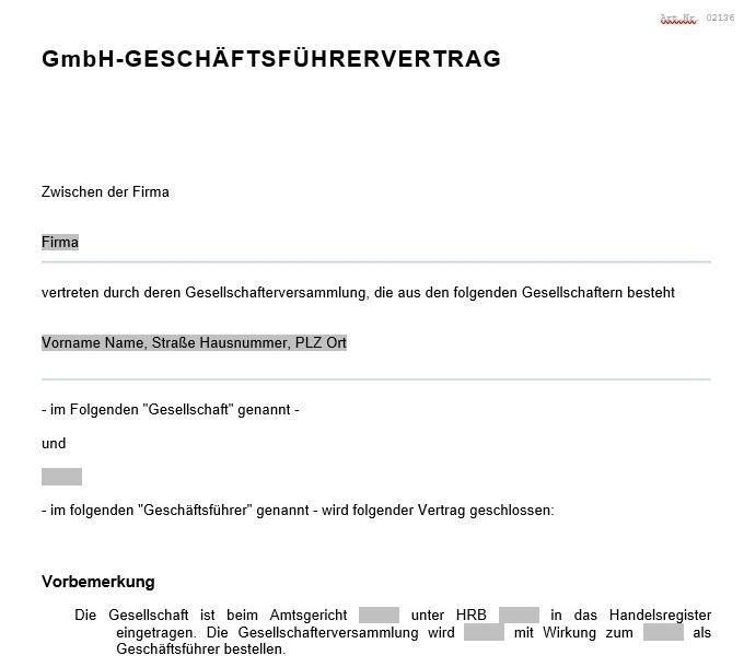 geschftsfhrervertrag - Geschaftsfuhrervertrag Muster